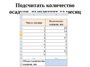 Подсчитать количество осадков, выпавших за месяц