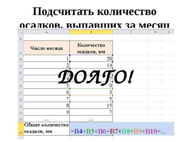Подсчитать количество осадков, выпавших за месяц ДОЛГО!