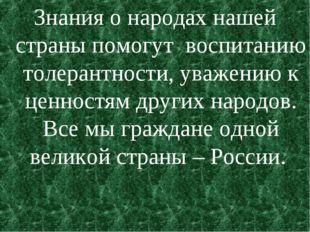 Знания о народах нашей страны помогут воспитанию толерантности, уважению к це