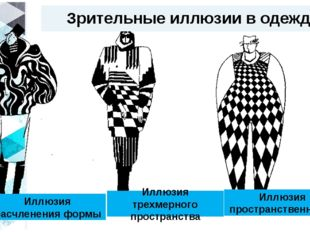 Зрительные иллюзии в одежде Иллюзия расчленения формы Иллюзия трехмерного про