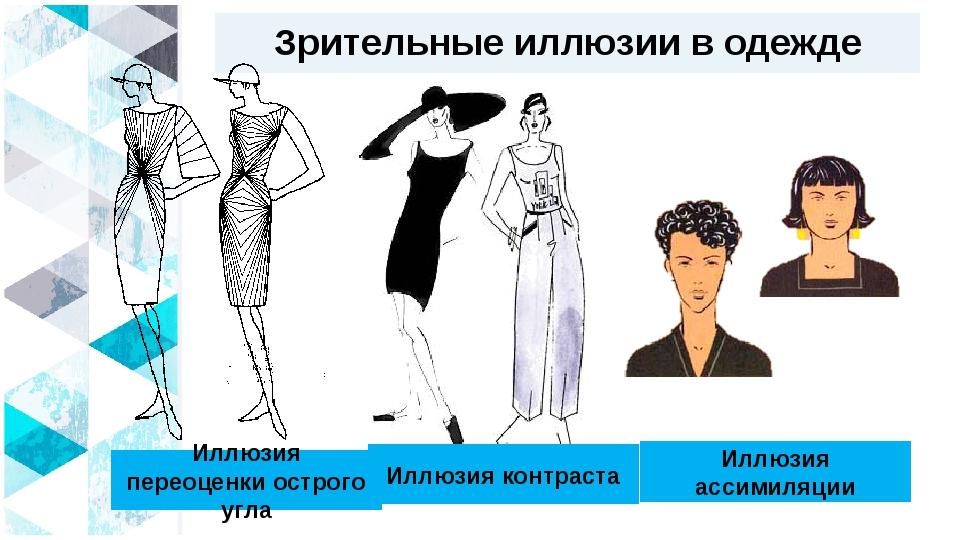 Зрительные иллюзии в одежде Иллюзия переоценки острого угла Иллюзия контраста...