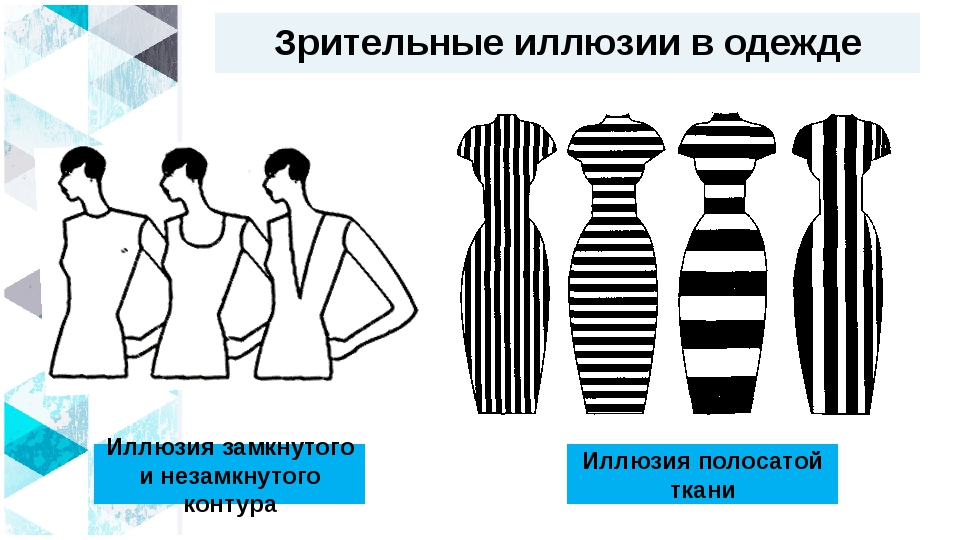 Зрительные иллюзии в одежде Иллюзия замкнутого и незамкнутого контура Иллюзия...