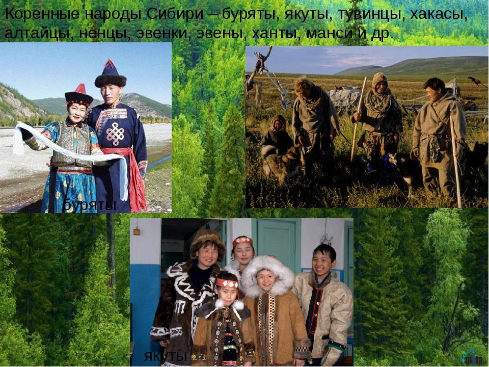 Коренные народы Сибири – буряты, якуты, тувинцы, хакасы, алтайцы, ненцы, эвен...