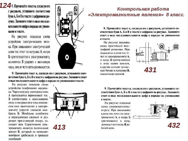 124 431 413 432 Контрольная работа «Электромагнитные явления» 8 класс.