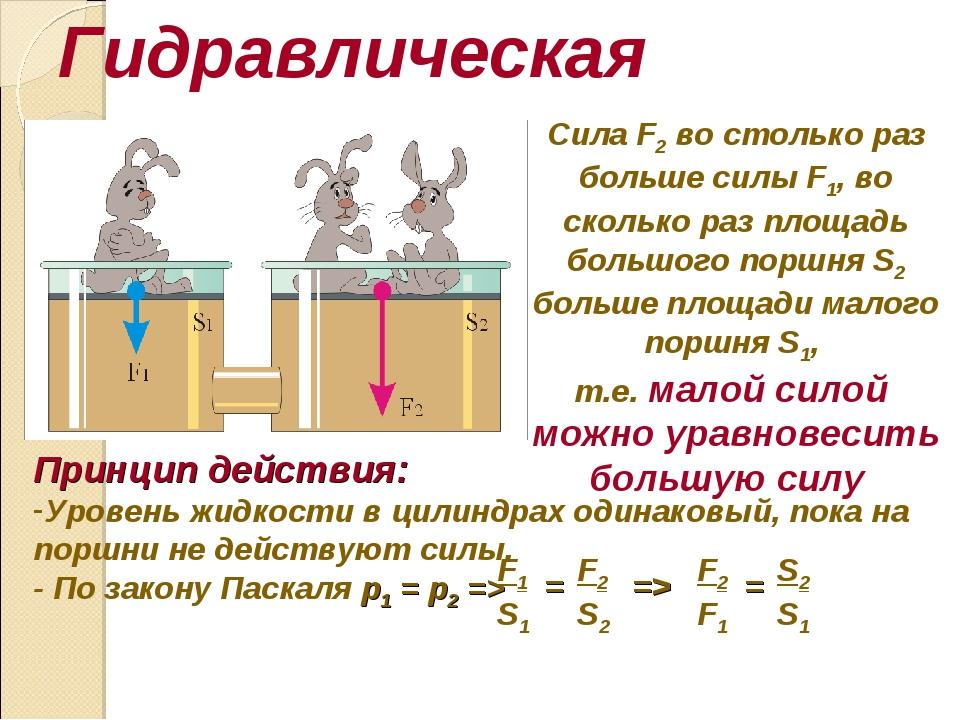 Гидравлическая машина Принцип действия: Уровень жидкости в цилиндрах одинаков...