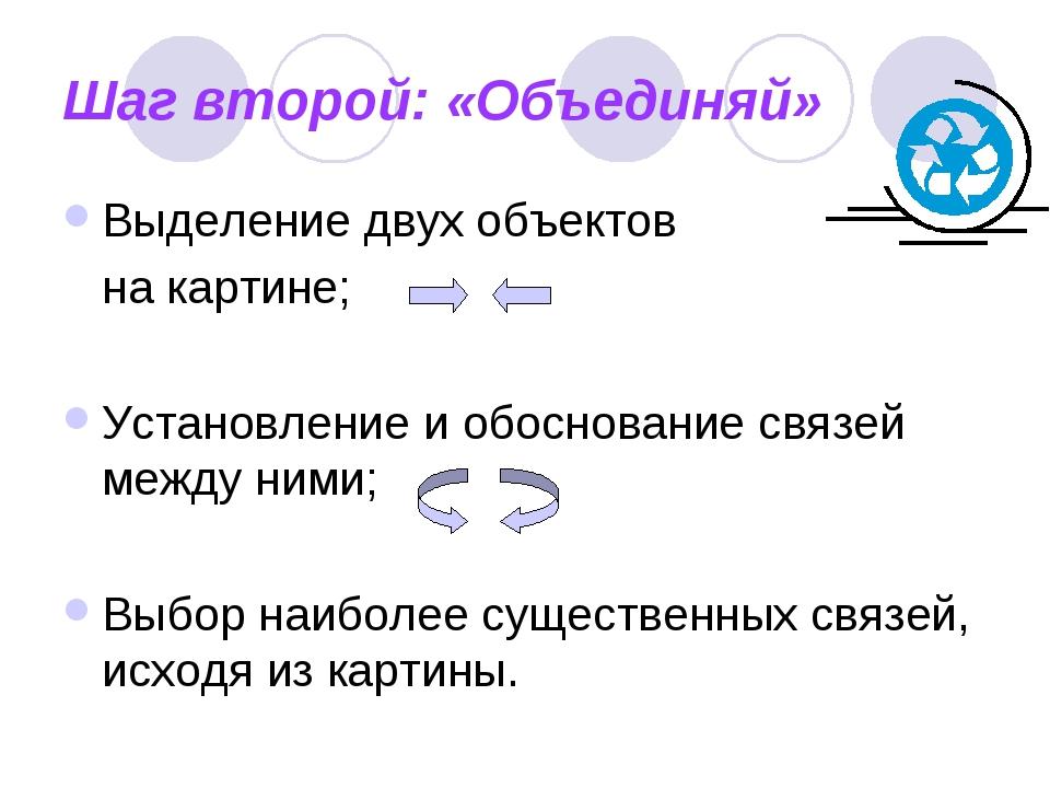 Шаг второй: «Объединяй» Выделение двух объектов на картине; Установление и об...