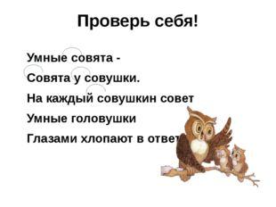 Проверь себя! Умные совята - Совята у совушки. На каждый совушкин совет Умные