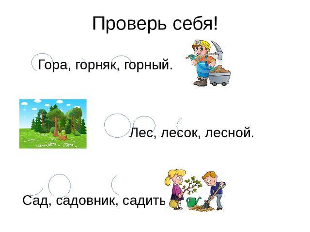 Проверь себя! Гора, горняк, горный. Лес, лесок, лесной. Сад, садовник, садить.