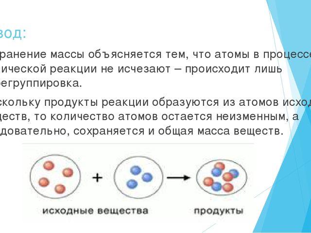 Вывод: сохранение массы объясняется тем, что атомы в процессе химической реак...