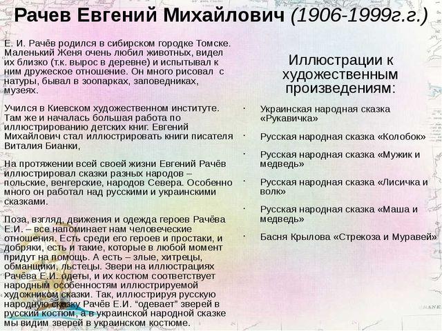 Рачев Евгений Михайлович (1906-1999г.г.) Е. И. Рачёв родился в сибирском горо...