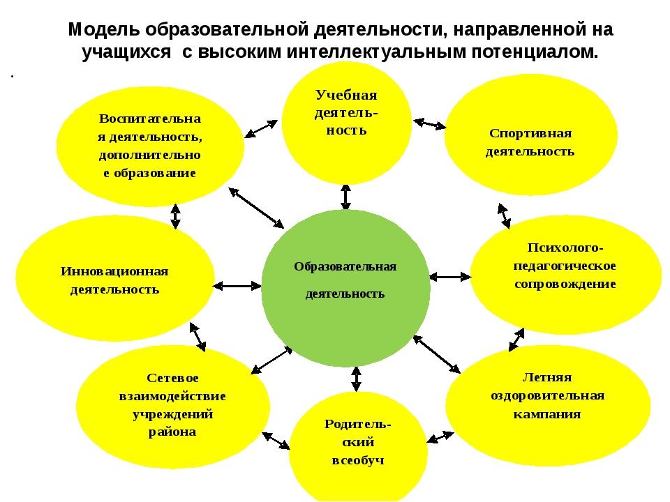 Модель образовательной деятельности, направленной на учащихся с высоким интел...