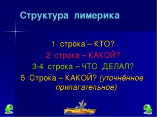 Структура лимерика 1 строка – КТО? 2 строка – КАКОЙ? 3-4 строка – ЧТО ДЕЛАЛ?