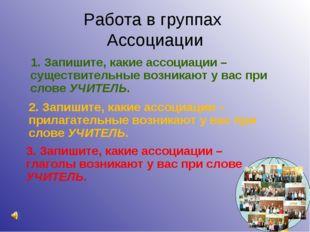 Работа в группах Ассоциации 1. Запишите, какие ассоциации – существительные в