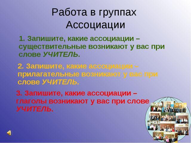 Работа в группах Ассоциации 1. Запишите, какие ассоциации – существительные в...