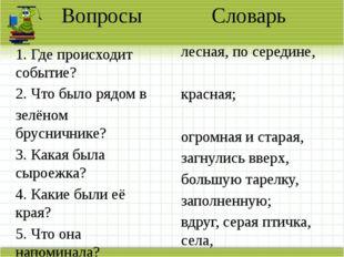 Вопросы Словарь 1. Где происходит событие? 2. Что было рядом в зелёном брусни
