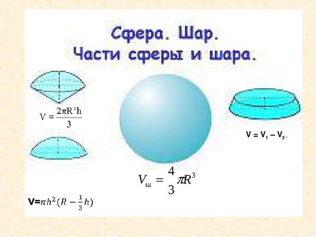 V = V1 – V2 ,