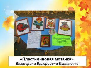 «Пластилиновая мозаика» Екатерина Валерьевна Игнатенко