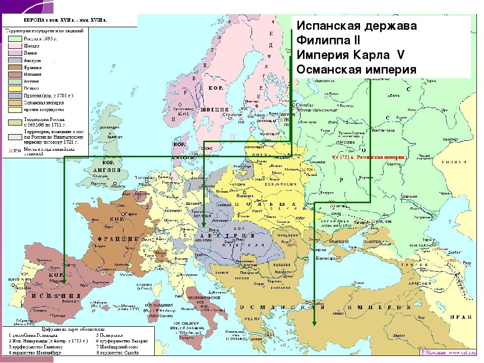 Испанская держава Филиппа II Империя Карла V Османская империя