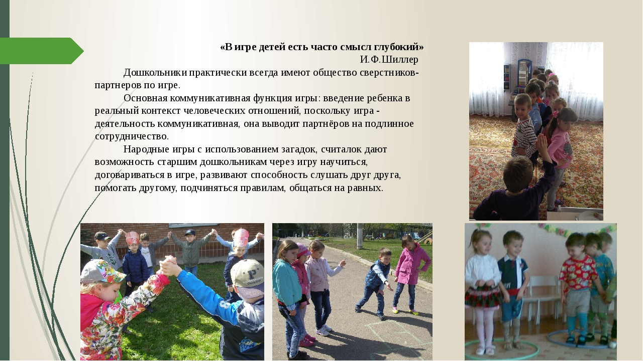 «В игре детей есть часто смысл глубокий» И.Ф.Шиллер Дошкольники практически...