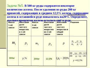 Задача №5. В 500 кг руды содержится некоторое количество железа. После удален