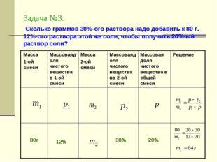 Задача №3. Сколько граммов 30%-ого раствора надо добавить к 80 г. 12%-ого рас