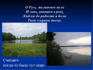 О Русь, малиновое поле И синь, упавшая в реку, Люблю до радости и боли Твою о