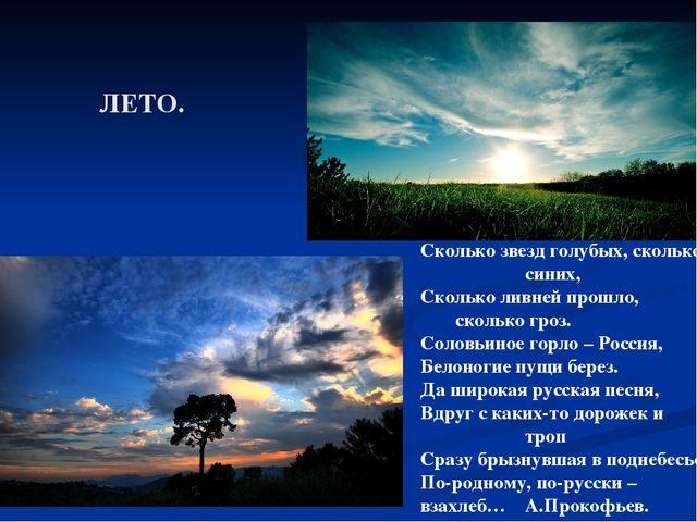 ЛЕТО. Сколько звезд голубых, сколько синих, Сколько ливней прошло, скол...