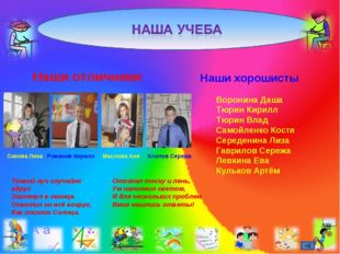 Наши отличники Сизова Лиза Романов Кирилл Маслова Аня Клопов Сережа Наши хоро