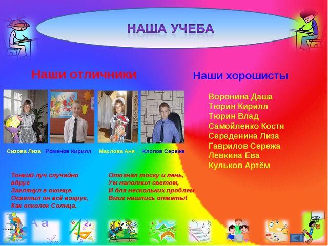 Наши отличники Сизова Лиза Романов Кирилл Маслова Аня Клопов Сережа Наши хоро...