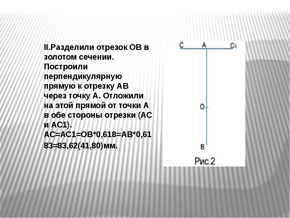 II.Разделили отрезок ОВ в золотом сечении. Построили перпендикулярную прямую...