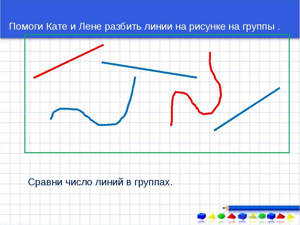 Помоги Кате и Лене разбить линии на рисунке на группы . Сравни число линий в...