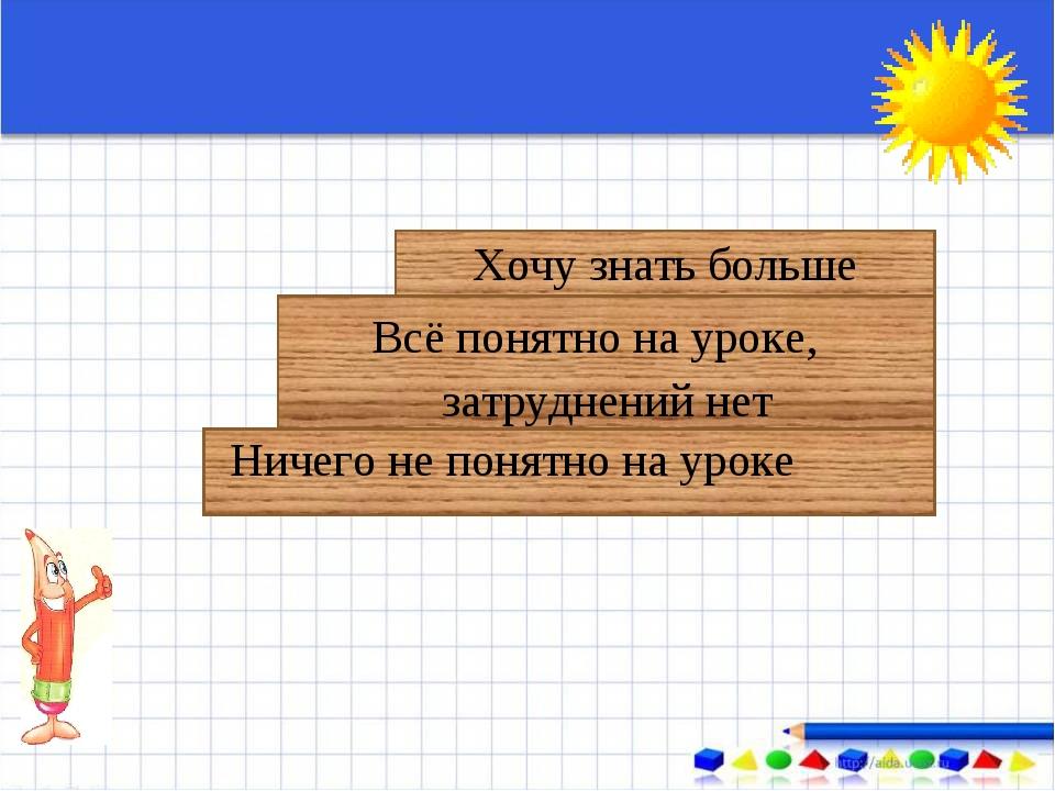 Ничего не понятно на уроке Всё понятно на уроке, затруднений нет Хочу знать...