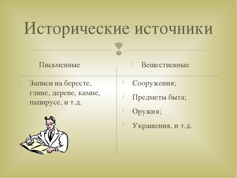 Исторические источники Письменные Записи на бересте, глине, дереве, камне, па...