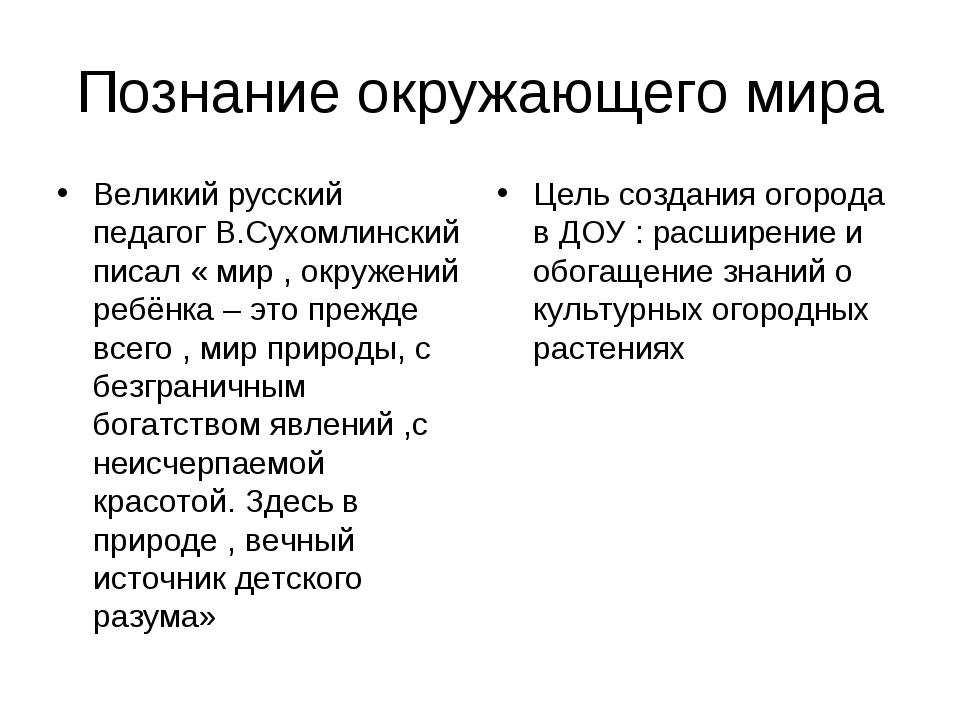 Познание окружающего мира Великий русский педагог В.Сухомлинский писал « мир...