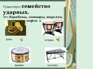 Существует семейство ударных. Это барабаны, литавры, тарелки, металлофон и др