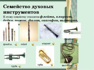 Семейство духовых инструментов К этому семейству относятся флейта, кларнет, д