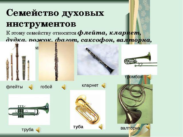 Семейство духовых инструментов К этому семейству относятся флейта, кларнет, д...