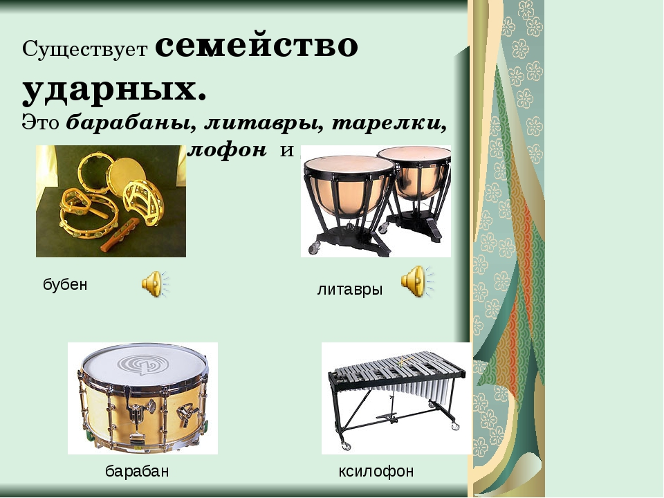 Существует семейство ударных. Это барабаны, литавры, тарелки, металлофон и др...