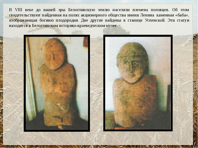 В VIII веке до нашей эры Белоглинскую землю населяли племена половцев. Об это...