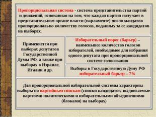 Пропорциональная система - система представительства партий и движений, основ