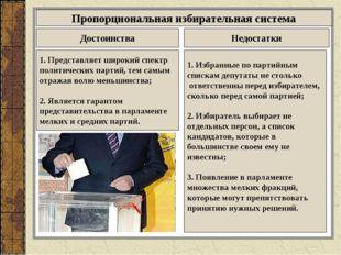 Пропорциональная избирательная система Достоинства Недостатки 1. Представляет