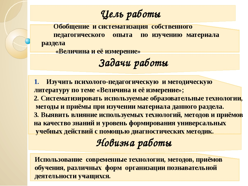 Цель работы Задачи работы Новизна работы Обобщение и систематизация собствен...