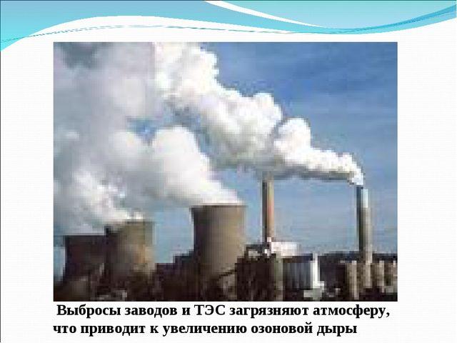Выбросы заводов и ТЭС загрязняют атмосферу, что приводит к увеличению озонов...