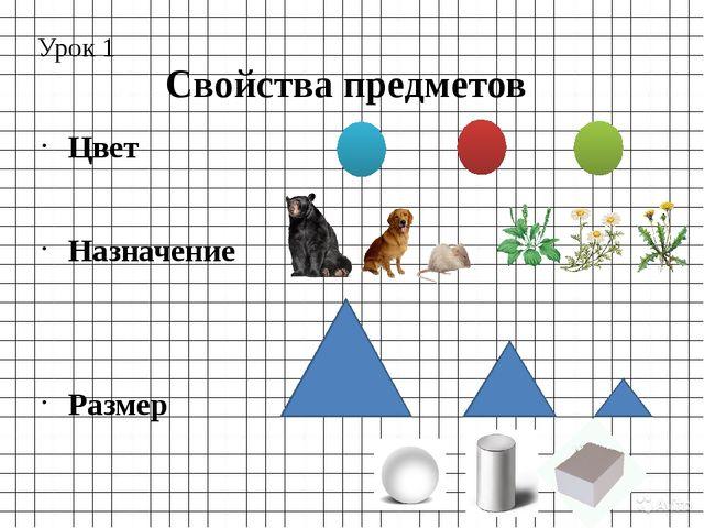 Свойства предметов Урок 1 Цвет Назначение Размер Форма