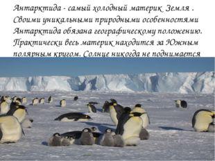 Антарктида - самый холодный материк Земля . Своими уникальными природными осо