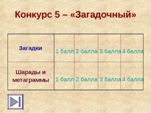Конкурс 5 – «Загадочный» Загадки 1 балл 2 балла 3 балла 4 балла Шарады и
