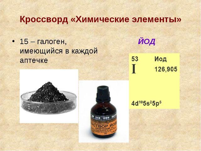 Кроссворд «Химические элементы» 15 – галоген, имеющийся в каждой аптечке ЙОД