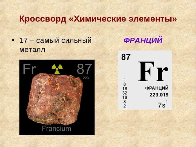 Кроссворд «Химические элементы» 17 – самый сильный металл ФРАНЦИЙ