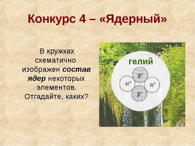 Конкурс 4 – «Ядерный» В кружках схематично изображен состав ядер некоторых эл...