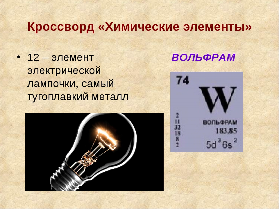Кроссворд «Химические элементы» 12 – элемент электрической лампочки, самый ту...